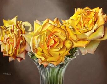 yellow rose art, yellow Rose painting, yellow flower picture, wall art yellow flower, yellow flower art, artwork for sale, realism