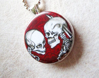 Skeleton Lovers, Handmade Original Dark Gothic Art Pendant Necklace, In Love and Hate