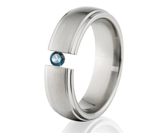 Tension Set Ring, Uniquley You, Titanium Ring, Blue Topaz, 7HRRC-B-Tension