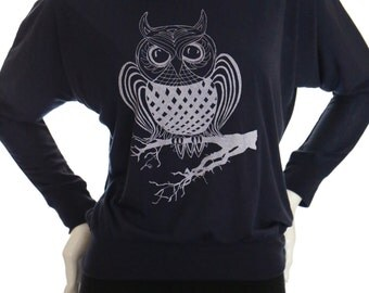 OWL. Long-Sleeve Off Shoulder T shirt. Art by MATLEY. Yoga. Soft and Sexy lightweight tees. Great gift for her.