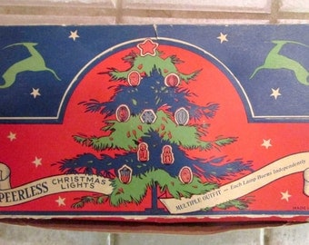 Peerless Christmas Lights 7 Bulb Cloth Cord Vintage Light Set in Box