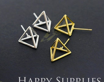 3D Geometric Triangle Cube 24K Golden / 925 Silver Plated Brass Earring Post Finding (EE3D02)