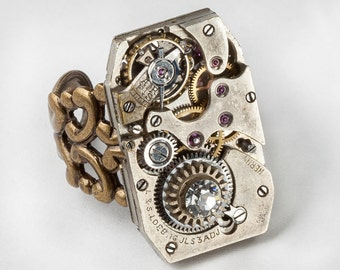 Gold Filigree Industrial Steampunk Ring Vintage Silver watch movement with Swarovski Crystal Statement Ring Clockwork Adjustable Band 2771