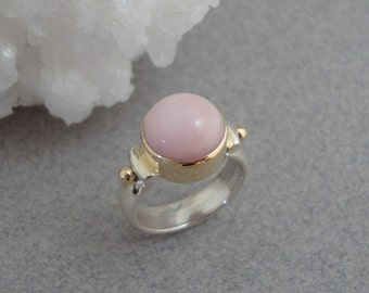 Pink Andean Opal Ring in 18k Gold and Sterling Silver, Baby Pink Ring