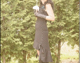 Dress - Strapless Sundress - Steampunk - Burning Man - Polka Dots - Gypsy Lolita - Bohemian Gypsy - Sexy Halter Dress - Size Medium