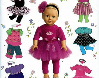 "18"" Doll Clothes Pattern by Simplicity-#1296, Brand new and uncut"