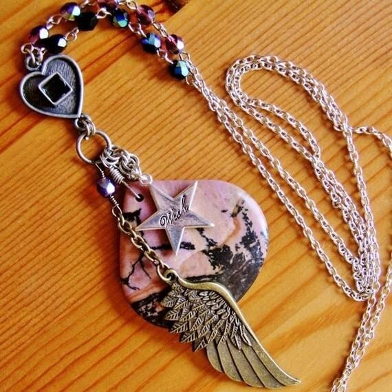 Reclaimed funky bohemian pendant necklace angel wing charm layered jewelry rhodonite pink black healing stone gemstone boho extra very long