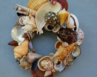 Colorful Shell Wreath or Candle Ring –SW76