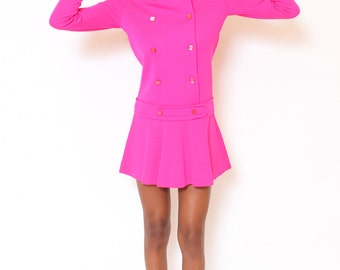 Vtg 60s Adorable Mod Hot Pink Babydoll Double Breast Collar Pleated School Girl Drop Waist Mini Dress S