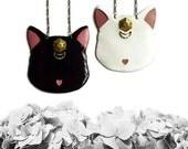 BFF Cat necklace set, Lunar Cat Necklace, Artemis Cat necklace, animal jewelry, cat jewelry