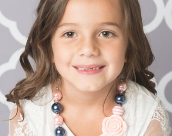 Light pink necklace, navy bubblegum necklace, little girl necklace, chunky bead necklace, bubble gum necklace, toddler necklace baby girl