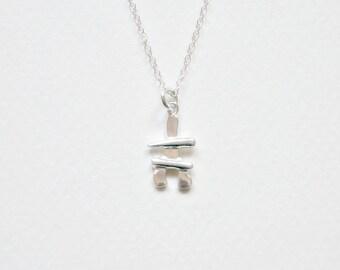 Inukshuk necklace, sterling silver inukshuk charm, canadian, nunavut, alaska, stone cairn, inuit, arctic, northern, inuksuk jewelry - Alice