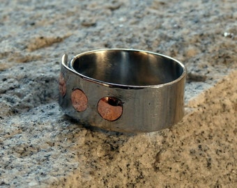 Stainless steel ring. Inlay ring.