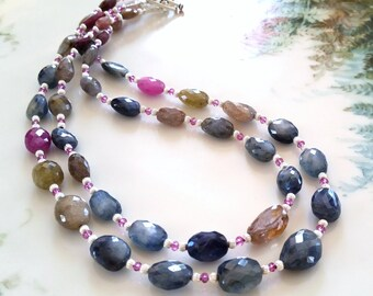Double Strand Faceted Multi Sapphire Necklace, OOAK Sapphire Nugget Necklace with Pink Garnet