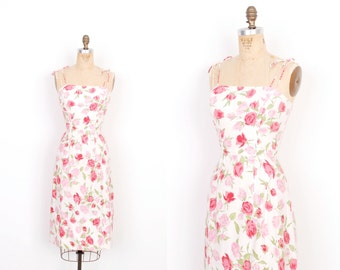 Vintage 1950s Dress / 50s Rose Print Floral Sundress / White and Pink (small S)