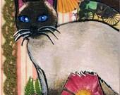 Siamese Cat Original Mixed Media ACEO