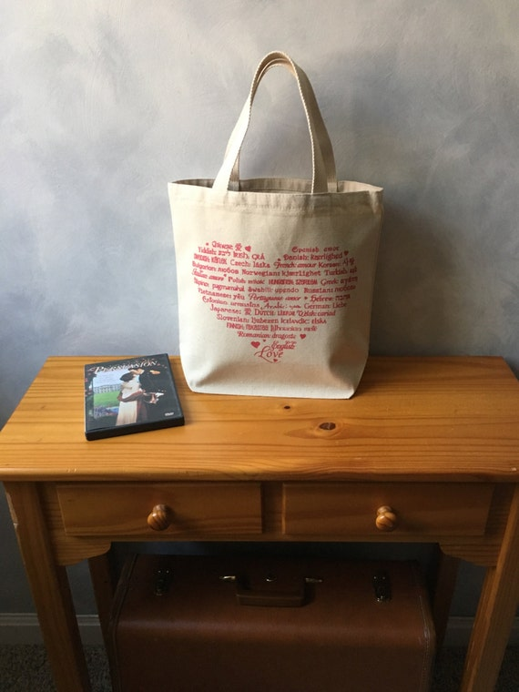 CLEARANCE ~ LOVE Languages Tote Bag - Raspberry Pink Ink on Natural - Canvas Bag - Essentials Tote - Mother's or Other's Day