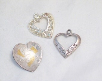Lot of 3 sterling silver open filigree diamond cut artisan concave heart charms or pendants Blingschlingers jewelry adoption center