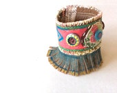 Fringed Tribal Cuff Bracelet Upcycled in Reds, Blues, Green  and Yellow