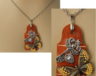 Life Like Butterfly Wooden Pendant Necklace Jewelry Handmade NEW Chain Adjustable Silver