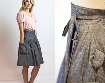 Grey Eco wrap skirt - Hemp & organic cotton denim / Custom sizing and colours available