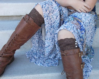 Brown Lace Boot Cuffs, Lace Boot Socks for Women, Gifts for Teen Girls, Small Gifts for Women, Lace Leg Warmers, Boot Accessories,