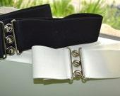 PLUS SIZE Cinch belt , Wide elastic stretch corset belt, Plus size belt, Black elastic belt, Ivory belt