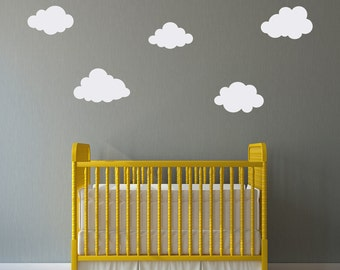 Cloud Decals Set - (Set of 5) - Puffy Cloud Wall Decal - Kids Wall Decal - Nursery Decor