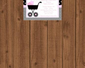 Girl Baby Shower Invitation, Baby Stroller Shower Invitation, Pink Chevron Baby Invitation, Black and Pink Baby Shower