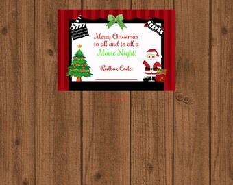 Redbox Gift Tag / Movie Certificate / To all a Movie Night /  Redbox Tag / Stocking Stuffer / Printable Christmas / Instant Download