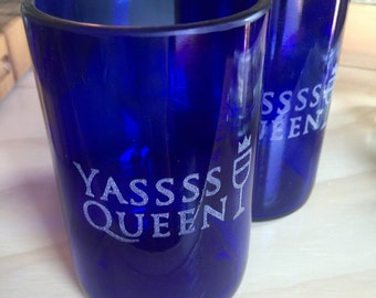 Yas Queen Engraved Drinking Glasses - Cobalt Blue - Set of 2