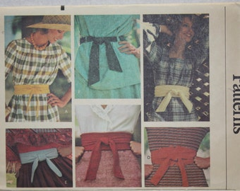 One Size Vogue  Accessories Sewing Pattern 9255 Six Variations of self lined  Belts - Suitable for Knits or Wovens. 70s chic!