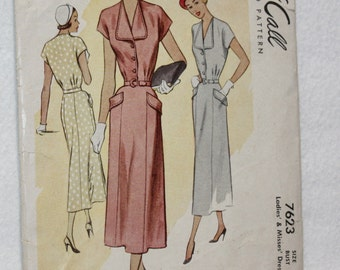 "Sz 16 Bust 34"" Vintage 40s McCall Sewing Pattern 7623  Dress with Kimono Sleeves and Button Front Bodice"