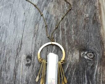 Raw Quartz Crystal Necklace Fringe Necklace Quartz Point Necklace Raw Crystal Jewelry Gypsy Jewelry Boho Chic Necklace Crystal Pendant