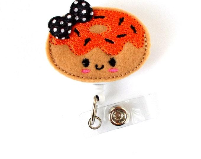 Halloween Donut  - Nurses Badge Holder - Felt Badge - Nursing Badge Holder - Teacher Badge Reel - RN Badge Reel - Fun ID Badge - Gift Idea