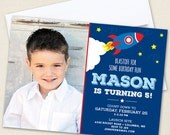 Rocket / Outer Space Party Photo Invitations - Professionally printed *or* DIY printable