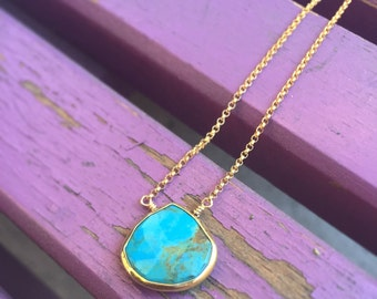 Turquoise Drop Pendant, Genuine Turquoise Bezel Necklace, 14k Gold Fill Chain, Simple Turquoise Gemstone Necklace, Boho Jewelry