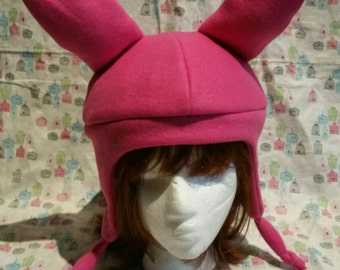 Handmade Pink Bunny Rabbit Hat With Earflaps