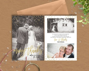 Many Thanks  Wedding Thank You Cards or magnets - gold confetti