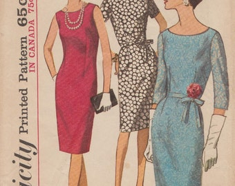 Simplicity 5939 / Vintage 60s Sewing Pattern / Sheath Dress / Size 42 Bust 44
