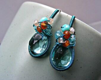 Teal quartz earrings, sterling silver cluster earrings, aqua quartz earrings, turquoise wire wrapped earrings, apatite turquoise garnet