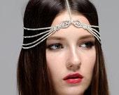 Bohemian, Headpiece Bridal, Rhinestone headchain, Boho Headpiece, Gatsby party