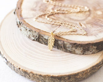 Tiny Feather Charm Necklace. Leaf Pendant Necklace. Feather Necklace. Leaf Charm Necklace. Gold Charm Necklace.