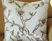 """Light Grey, Ivory, and Black Pillow Cover, 18 Inch Square, Bird Floral Branch Print, Envelope Style Cotton Pillow Case, """"Dove Branches"""""""