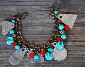 Vintage Dog Tag Charm Bracelet in Silvertone, Red, Turquoise - Vintage Assemblage