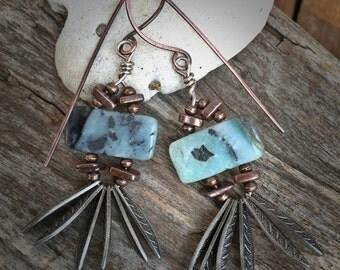 Outer Fringe Earrings, Amazonite Earrings, Tribal Earrings, Hippie Earrings, Boho Chic, Earthy, Leaves, Copper Jewelry, Handmade, YaYJewlery