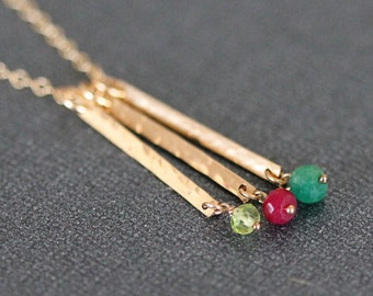 Skinny Birthstone Bar Necklace, Dainty 1-5 Charms, Mothers Birthstone, Custom Gold Filled, Mothers Day Gift