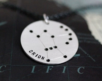 Orion Constellation Necklace - Astrological Zodiac Sign Jewelry, Orion Necklace, Sterling Silver