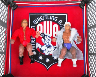 1982 AWA WWF Action Figures American Wrestling Association Remco Toys - WWE Battle All Star Wrestlers Ric Flair & Larry Zbyszko Figurines