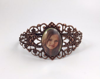 Custom Photo Bracelet - Filigree Style - Your Personal Photo on an adjustable Cuff Bracelet - Available in 4 Finishes